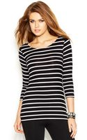 Guess Threequartersleeve Scoopback Striped Top - Lyst