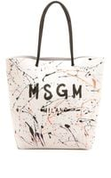 MSGM Tote Bag  White - Lyst