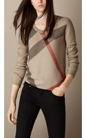 Burberry Check Detail Wool Cashmere Sweater - Lyst