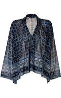 Donna Karan New York Stretch Silk Printed Top - Lyst