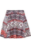 River Island Red Aztec Puff Print Skater Skirt - Lyst