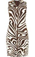 Michael Kors Zebra Print Jersey Dress with Zip Shoulder Detail - Lyst