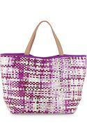 Deux Lux Callie Woven Pvc Tote Bag Purple - Lyst