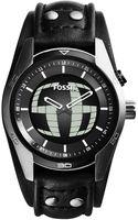 Fossil Mens Analogdigital Coachman Black Leather Strap Watch 45mm - Lyst