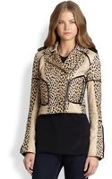 Diane Von Furstenberg Leather-trimmed Leopard Spotted Jacket - Lyst
