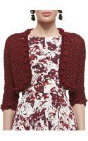 Oscar de la Renta Embroidered Knit Bolero Jacket - Lyst