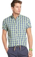 Izod Big and Tall Short Sleeve Saltwater Poplin Plaid Shirt - Lyst