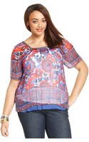 Lucky Brand Plus Size Shortsleeve Floralprint Top - Lyst