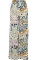 River Island Light Green Floral Print Palazzo Trousers - Lyst