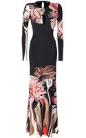 Roberto Cavalli Jersey Printed Evening Gown - Lyst