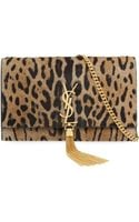 Saint Laurent Leopard Print Calf Hair Clutch Bag - Lyst