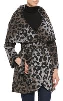 T Tahari Marla Leopard Wrap Coat - Lyst