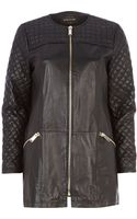 River Island Black Leather Quilted Panel Coat - Lyst