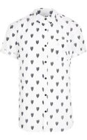 River Island White Heart Print Short Sleeve Shirt - Lyst