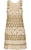 Chloé Embellished Silk Blend Crepe Mini Dress - Lyst