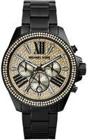 Michael Kors Wren Black Ip Stainless Steel Glitz Chronograph Bracelet Watch - Lyst