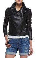 Vince Smooth Leather Motorcycle Jacket Black - Lyst