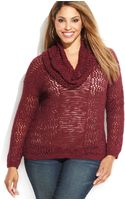 Inc International Concepts Plus Size Metallic Cowlneck Openknit Sweater - Lyst