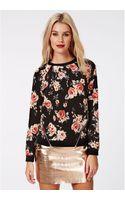 Missguided Nadya Zip Detail Floral Sweater Black - Lyst