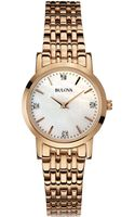 Bulova Womens Rose Goldtone Stainless Steel Bracelet Watch 27mm 97p106 - Lyst