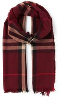 Burberry House Check Fringed Scarf - Lyst