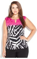 Calvin Klein Plus Size Sleeveless Animalprint Keyhole Top - Lyst
