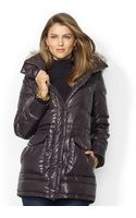 Lauren by Ralph Lauren Fauxfurtrim Hooded Down Puffer Coat - Lyst