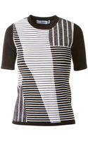 Prabal Gurung Black and White Stretch Knitted Top with Geometric Patterns - Lyst