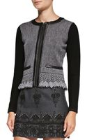 Nanette Lepore Intrigue Leather-trim Tweed Jacket - Lyst