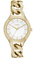 DKNY Womens Chambers Goldtone Stainless Steel Chain Bracelet Watch 36mm - Lyst