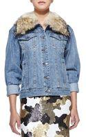 MICHAEL Michael Kors Denim Jacket with Fur Collar - Lyst