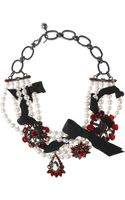 Lanvin Pewter Swarovski Pearl and Crystal Necklace - Lyst
