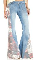 Free People Patchwork Flared Jeans - Lyst