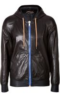 Marc Jacobs Leather Jacket with Drawstring Hood - Lyst
