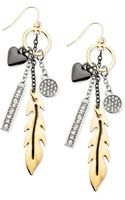 Guess Tritone Multicharm Drop Earrings - Lyst