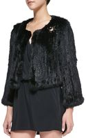 525 America Spiderbrooch Embellished Fur Crop Jacket - Lyst