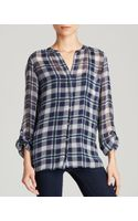 Joie Top Nura Plaid Georgette - Lyst