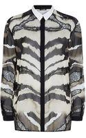 Roberto Cavalli Animal Print Silk Blouse - Lyst