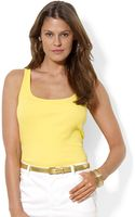 Lauren by Ralph Lauren Ribbed Cotton Tank - Lyst