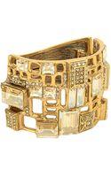 Oscar de la Renta Goldtone Swarovski Crystal Cutout Layered Cuff Bracelet - Lyst