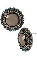 Betsey Johnson Round Crystal Button Stud Earrings - Lyst