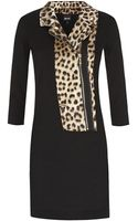 Just Cavalli Leopard Print Biker Front Dress - Lyst