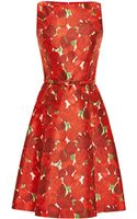 Oscar de la Renta Rose Print Silk Blend Mikado Dress - Lyst