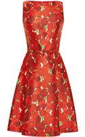 Oscar de la Renta Rose Print Silk Blend Mikado Dress - Lyst