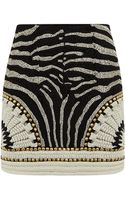Balmain Embellished Zebra Mini Skirt - Lyst