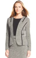 Anne Klein Textured Tweed Contrasttrim Jacket - Lyst