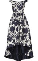 Oscar de la Renta Off the Shoulder Printed Cotton and Silk Blend Dress - Lyst