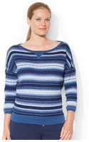 Lauren by Ralph Lauren Plus Size Striped Waffleknit Top - Lyst