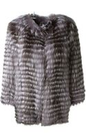 Yves Salomon Grey Fox Fur Coat - Lyst