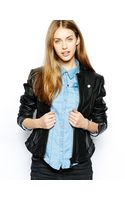 G-star Raw Leather Biker Jacket - Lyst